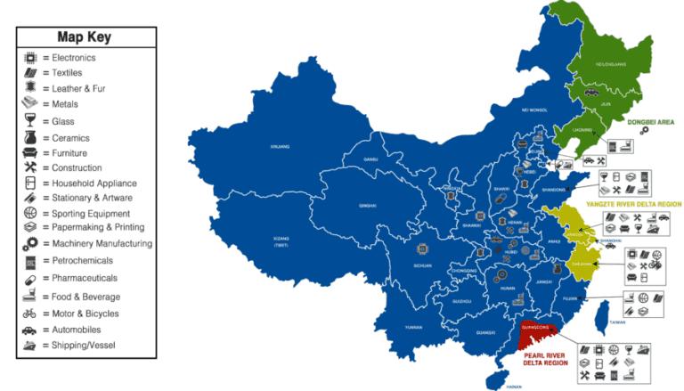 Карта, показывающая сосредоточение основных промышленных центров Китая